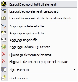 esegui backup